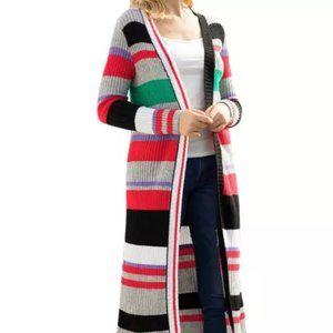 nip Multicolor Stripe Open Front Long Cardigan L